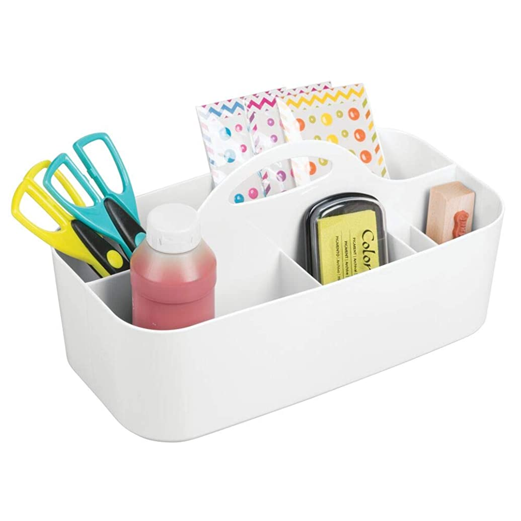 mDesign Plastic Portable Craft Storage Organizer Caddy Tote, Divided Basket Bin with Handle for Craft, Sewing, Art Supplies - Holds Paint Brushes, Colored Pencils, Stickers, Glue, Yarn - Large - White