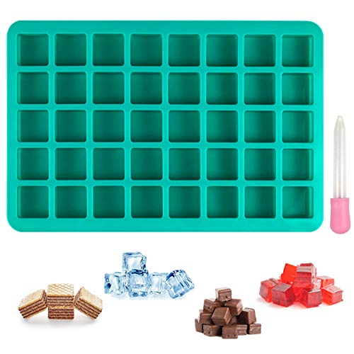 BUSOHA 40-Cavities Square Caramel Candy Baking Silicone Molds With Liquid Droppers for Chocolate Truffles, Ice Cube, Hard Candy, Peanut Butter Fudge, Praline, Gummy Jelly, Nonstick BPA Free