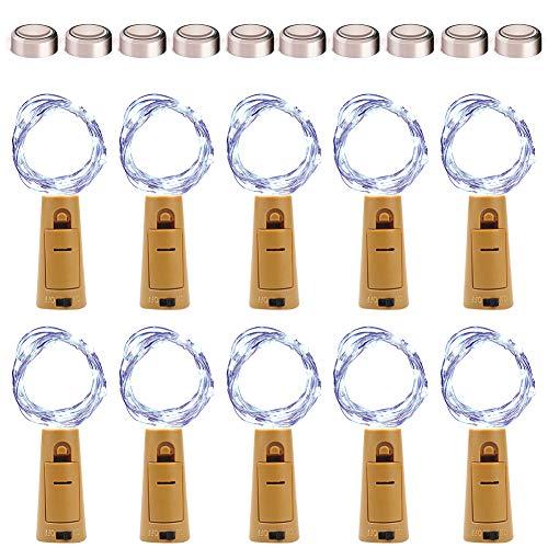KOTONAMI Luci per Bottiglia con Batteria [10 PCS], Tappo con Luci per Bottiglie, 6.6ft 20 LEDS Lucine a fili di rame Decorative Luci per DIY Festa Giardino Halloween Natalizie Matrimonio,Bianco Freddo