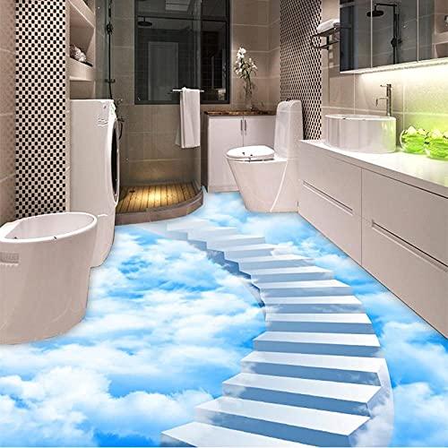 Papel pintado mural autoadhesivo personalizado para suelo, nubes 3D, azulejos de piso, pegatina de pintura, baño, dormitorio -200 * 140cm