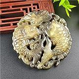 YANGHONDD Skulpturen Statuen Dekoration Natürliche JadeSkulptur Fisch Lotusblatt Jade Anhänger Amulett Ruyi Anhänger Maskottchen Sammlung Schmuck Ornamente-China