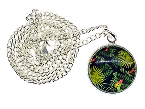 Miniblings Cabochon Urwald Halskette - Handmade Modeschmuck I Kette 45cm Dschungel Regenwald Muster Blätter Dschungel Pflanzen Farne - Gliederkette versilbert