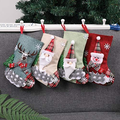 Topanke 4 x Camino Calza di Natale, 23cm Babbo Natale Pupazzo di Neve e Elk Calze Natalizie da Appendere Candy Sacchetti Regalo per Albero di Natale Festa di Natale DecorazioniCalze