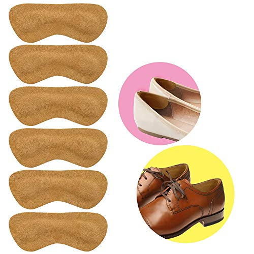 Heel Grips for Loose Shose - Leather Heel Grips Liner Cushions Inserts for Loose Shoes, Improved Shoe Fit and Comfort, Prevents Chafing and Blisters - 3 Pairs (Khaki)