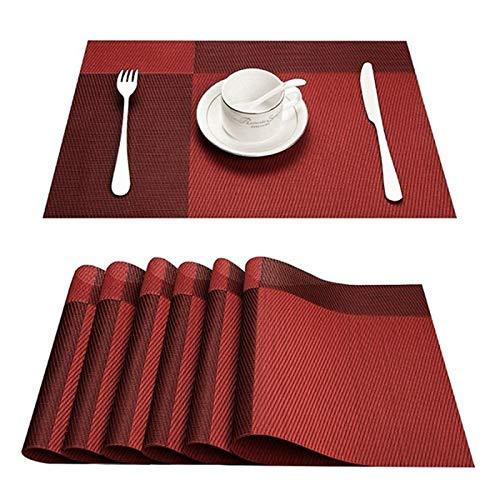 WDM Tovagliette Americana - Tappetino da Tavolo in Plastica in PVC Bamboo, Usato per Tappezzeria da Cucina Tappetino da tè caffè,Rosso,4 PCS