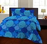 Bombay Dyeing 104 TC Cotton Double Bedsheet and 2 Pillow Covers (Blue)