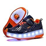 Unisex Niñas Niño Zapatillas con LED Ligero USB Recargable Ruedas Doble Ronda Automática de Skate de Patìn Zapatos Se Puede Usar como Calzado Normal