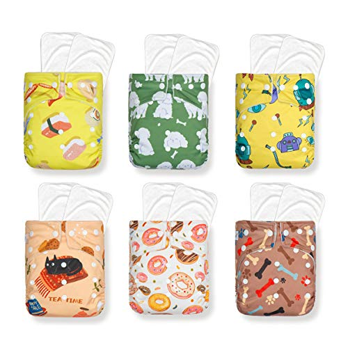 Heavy Wetter Pack! KaWaii Baby Good Night Heavy Wetter, 6 One Size Cloth Diapers with 12 Stay-Dry Super Absorbent Microfiber Inserts Unisex Overnight Pocket Diaper, Reusable, Adjustable Waterproof