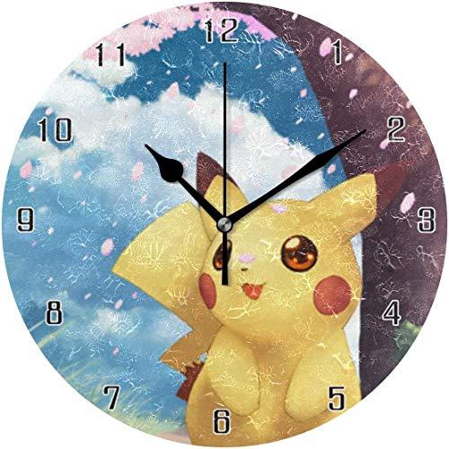 ingshihuainingxiancijies Pikachu World Round Wanduhr Wohnkultur Uhr Batteriebetriebene Silent Non-Ticking Desk Clock für Zuhause, Büro, Schule (10 Zoll)