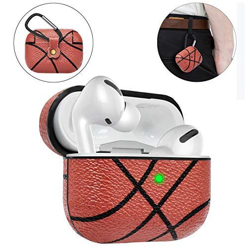Eutekcoo Airpods Pro Hülle(Sichtbarer Front LED)(Unterstützt kabelloses Laden)PU Leder Skin und PC Plastic Inner Stoßfeste Schutzhülle Tasche mit Karabiner für Airpods Pro 2019(Airpods 3.Gen) Basketball