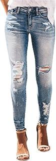 RISTHY Pantalones Jeans Rotos Vaqueros Push Up Vaqueros Elásticos Pantalones de Cintura Alta Straight Denim Pants Sexy Pan...