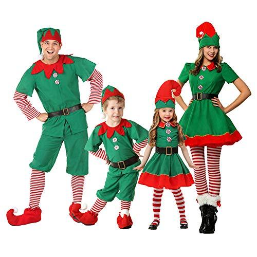 Haodasi Damen Herren Kinder Weihnachtselfen Kostüm - Cosplay Karneval Halloween Weihnachten Elfen Outfit Kostüm Set