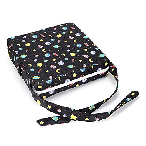 Btsky, Cuscino alzasedia per bambini, smontabile, regolabile, lavabile, con cinghie per sedia, tema cielo stellato