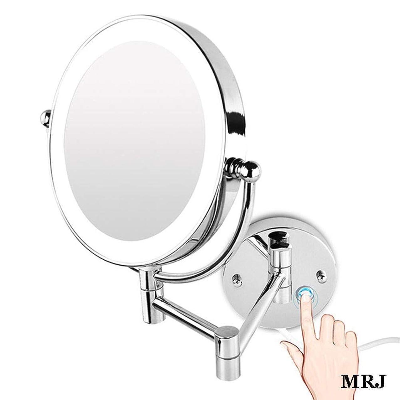 ロッジチューインガム万歳バスルームシェービングミラー壁掛け8.5インチ化粧鏡、LEDライトTrue Imageおよびx7拡大バニティミラー360度。自由回転拡張アームクローム調光タッチBSプラグ
