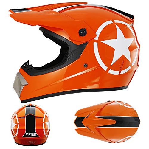 YQY Moda Casco de Moto de Cara Completa con Visera Casco de Motocicleta Fuera de la Carretera,Naranja,L