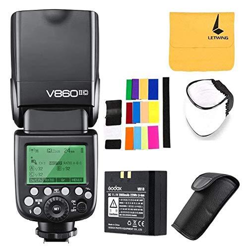 Godox V860II-C Pionieristico 2.4G Wireless E-TTL II Li-on fotocamera Flash Speedlite per Canon 50D 60D 6D 1DX 580EX II 5D Mark + LETWING Lens Panno (V860II-C)