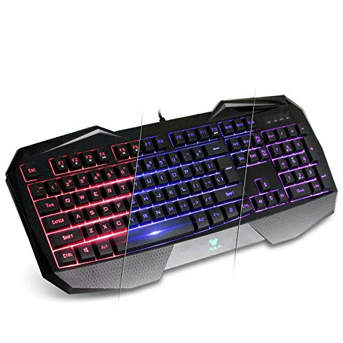 AULA SI-859 Backlit Gaming Keyboard with Adjustable Backlight Purple Red Blue USB Wired Illuminated Computer...
