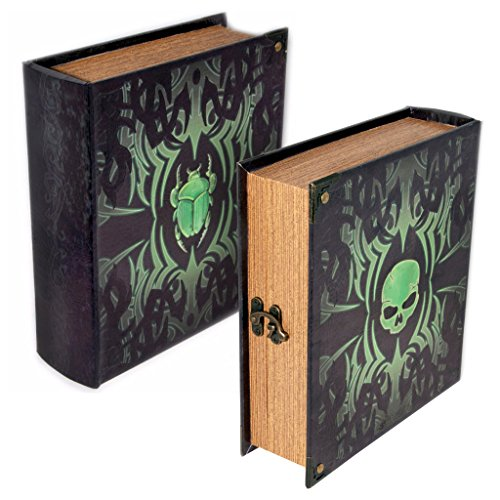 Grimoire Deck Box, Deathrite - Wooden Spellbook Style Large Capacity Trading Card Deck Storage (800 to 1000 Cards) for MTG Magic the Gathering, Yugioh, Pokemon | Gift Item for Commander, Edh, Modern