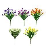 Chbop flores artificiales falsas 5 paquetes de 5 colores al aire libre resistente a los rayos uv arbustos plantas interior exterior jardinera decoración de jardín en casa