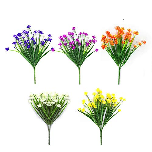 Artificial Fake Flowers 5 Bundles of 5 Colors Outdoor UV Resistant Greenery Shrubs Plants Indoor Outside Hanging Planter Home Garden Decorating