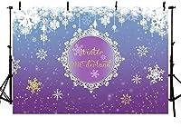 冬のワンダーランドの背景生まれた赤ちゃんの女の子の最初の最初のChristmasg紫のワンダーランド7x5ft誕生日パーティーバナー装飾雪片写真ブース背景