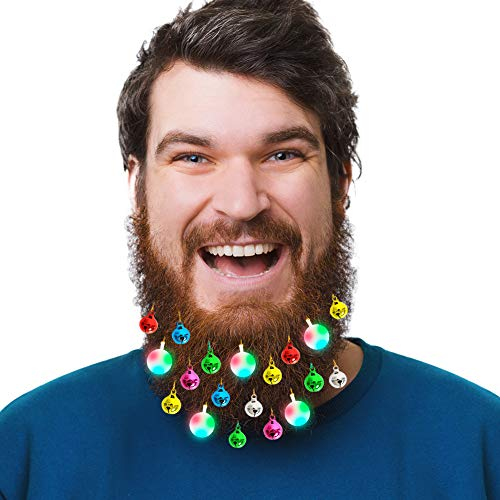 Olivilo Beard Lights Ornaments, 8 Pcs Lights and 15 Pcs Colorful Sounding Jingle Bells, Christmas and New Year Festival Ideas for Husband Men Hair Decoration (8 LED + 15 Bells)