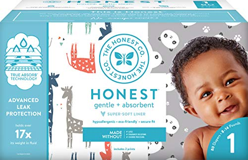 The Honest Company Club Box - Size 1 - Pandas & Safari Print with TrueAbsorb Technology | Plant-Derived Materials | Hypoallergenic | 80 Count