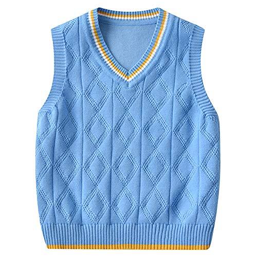 Shengwan Kinder V-Ausschnitt Strickweste Jungen Mädchen Ärmellos Sweater Pullover Gestrickte Weste Top Blau 130
