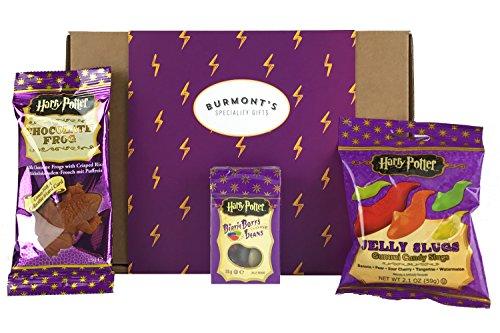 Boîte-Cadeau Avec Une Harry Potter Sélection De Bonbons Et Chocolats Américains - Jelly Belly Bertie Bott's Grenouille En Chocolat, Haricots Et Limaces À La Gelée - Panier Exclusif Burmont's