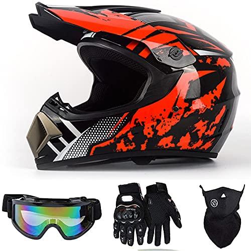 osea DOT Kids Motocross Helmet, Full Face MTB Helmet Off Road Downhill Quad Dirt Bike MX ATV Motorbike Helmet for Youth Childs with Goggles Mask Gloves (Red Medium)