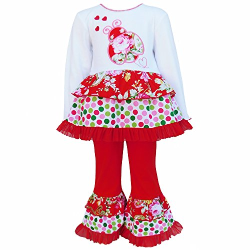 AnnLoren Little Girls' Toddler Valentine's Day Outfit Red Polka Dot Floral Ladybug Boutique Clothing sz 2/3T