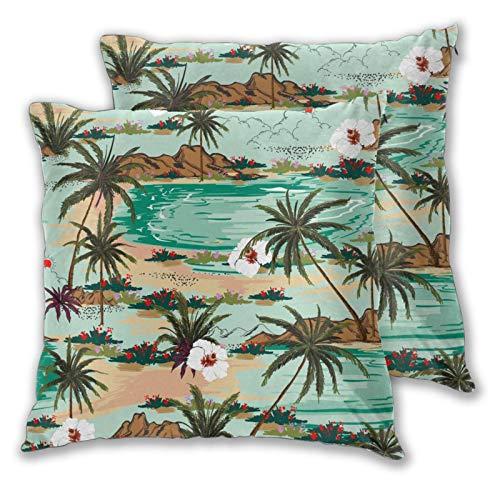 ZELXXXDA 3D-Druck-Kissenbezug-Hülle,Heller Sommer Hawaii Palm Trees Beach und Oce, Moderner Kissenbezug für Sofa Couch Bett Auto Set Wohnkultur 18