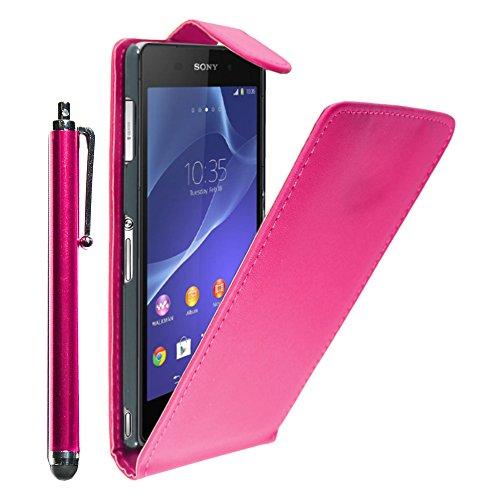 ebestStar - Funda Compatible con Sony Xperia Z3 D6603 Carcasa Abatible PU Cuero, Ultra Slim Case Cover + Lápiz, Rosa [Aparato: 146 x 72 x 7.3mm, 5.2'']