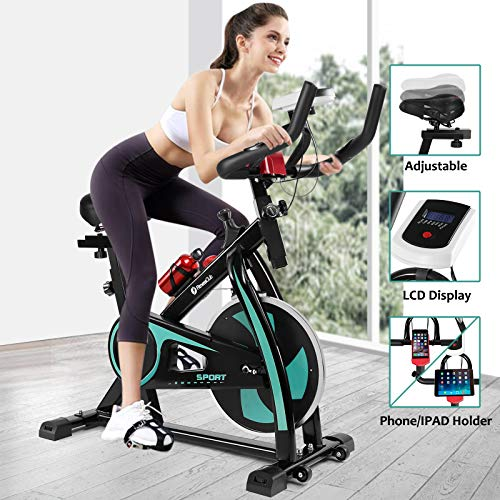 Fitnessclub Indoor Exercise Bike Cardio Workout W/Belt Driven Flywheel Cycling Adjustable Handlebars Seat Resistance Digital Monitor Heart Rate Sensors Phone Holder Bottle Green