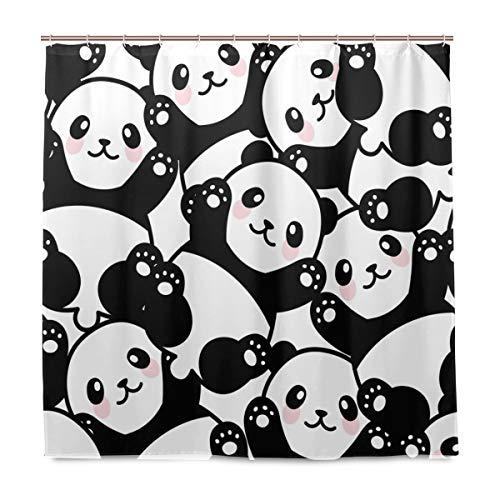 BIGJOKE Duschvorhang, süßes Panda-Tier-Muster, schimmelresistent, wasserdicht, Polyester, 12 Haken, 183 x 183 cm, Heimdekoration