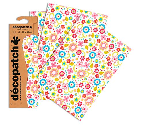 Decopatch Papier No. 433 (bunt Streublumen, 395 x 298 mm) 3er Pack
