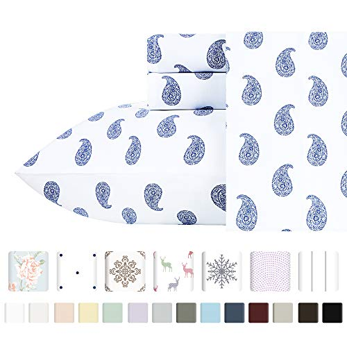 400-Thread-Count 100% Cotton Sheets for Bed - 4-Piece Paisley Blue King size Printed Sheet Set - Long-Staple Combed Cotton Bed Sheets, Sateen Weave, Fits Mattress upto 18'', Deep Pocket