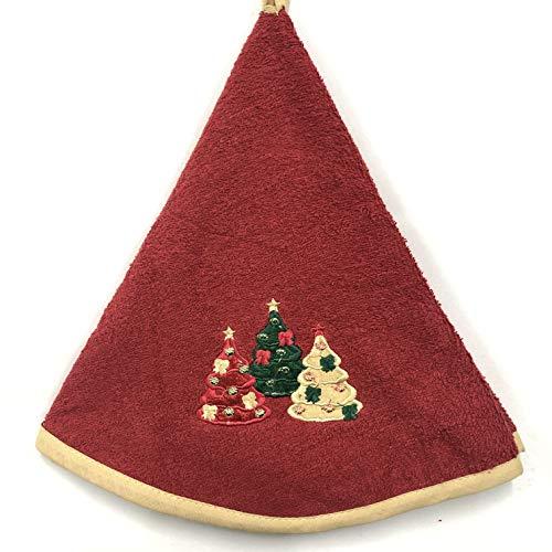 Asciugamani Con 3 Motivi Di Alberi Di Natale - Cucina / Bagno - Rotondo Con Clip - Ottimo Design - Lavabile In Lavatrice - 100% Cotone - Tovagliolo Da Tè (65 Centimetri Di Diametro, Rosso)