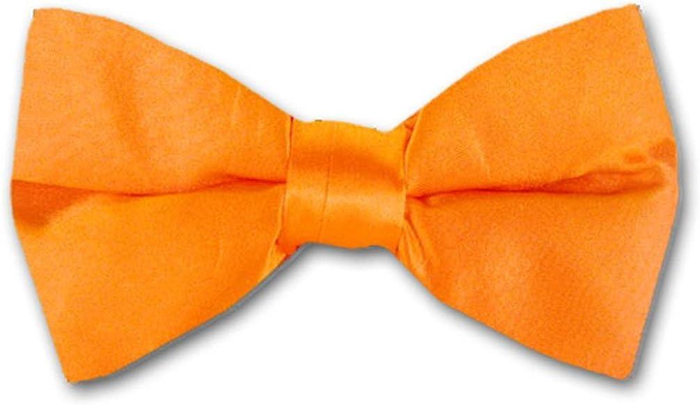 Bold Orange Solid Color Pre-Tied Bow Tie