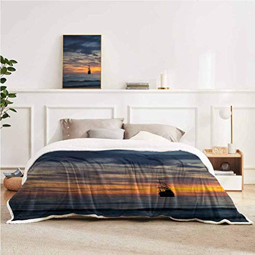 "YUAZHOQI Pirate Throw Blanket for Couch Bed Ancient Vessel Sailing Ship Floating on Ocean at Idyllic Sunset Maritime Throw for Girlfriend Best Friend 60"" x 80"" Dark Blue Yellow Coral"