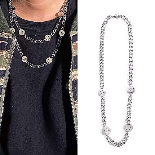 KINGVON Collar simple de acero inoxidable con cara sonriente, collar de pareja de acero de titanio hip hop callejero, para hombres y mujeres, plateado