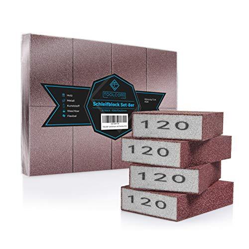 TOOLCORE® Schleifschwamm | 8 Stück - K120 | Flexibel & Waschbar | Holz-Metall-Kunststoff | Schleifpapier, Handschleifer, Schleifklotz, Schleifblock