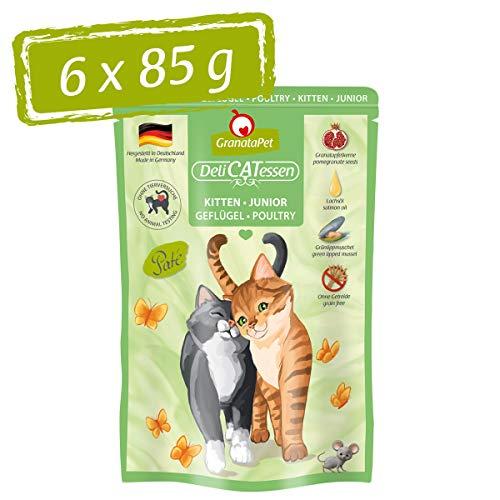 GranataPet Delicatessen Kitten/Junior Geflügel, Nassfutter für Katzen, Katzenfutter für Feinschmecker, Futter ohne Getreide & ohne Zuckerzusätze, 6 x 85 g