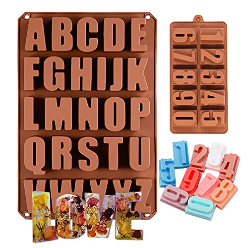 26 Cavities Large Silicone Molds Letters Numbers Baking Mold for Alphabet Chocolate, Candy, Resin Art, Crayon