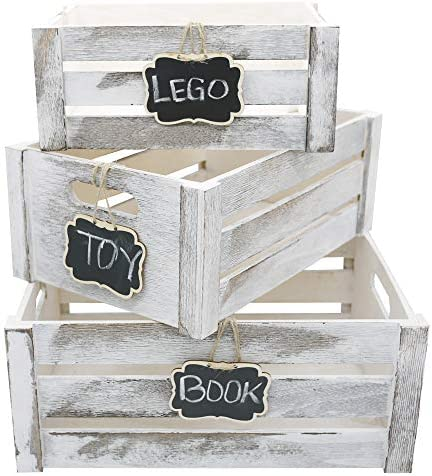 Admired By Nature Rustic Home D cor Nesting Organizer Wooden Crates with Chalkboard Set of 3 product image