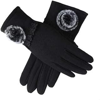 SGJFZD Women Touched Screen Gloves Lace Bowknot Warm Gloves Elegant Flocking Warme Gloves Windbreak Gloves (Color : Black, Size : OneSize)