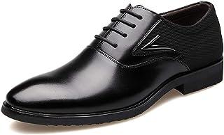 [ジョイジョイ] ビジネスシューズ レースアップ メンズ フォーマルシューズ カジュアル 軽量 革靴 ポインテッドトゥ バイカラー 内羽根 スーツ用 クッション 通気性 紳士靴 ローカット ブラック