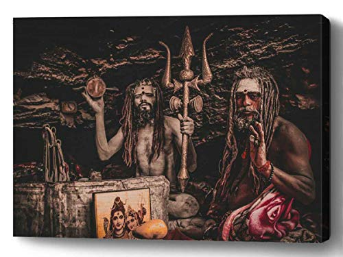 YUNLOY Canvas Wall Print Framed for Home Walls Decor Morden Decoration 20x14 Priest God Caveman Yogi Trident Indian Gods Hinduism Shiva Lord