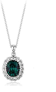 Rigant Oval Shaped Swarovski Elements Crystal Pendant Necklace Fashion Jewelry for Women