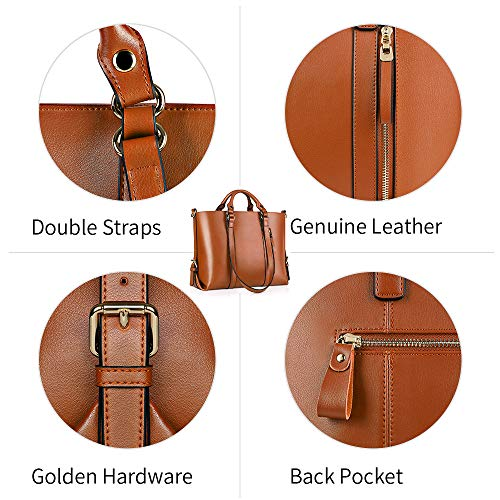 Kattee Urban Style 3-Way Women's Genuine Leather Shoulder Tote Bag, Orange